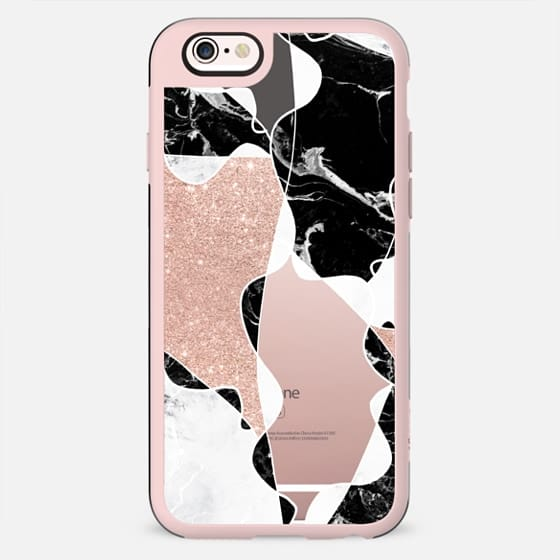 modern black white marble color block pink rose gold glitter semi transparent by Girly Trend - New Standard Case