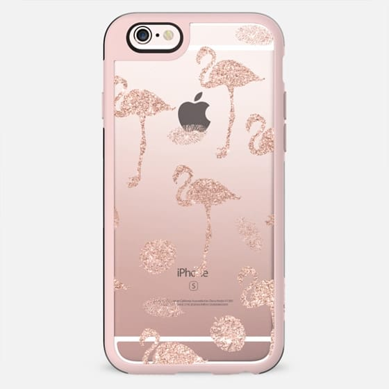 Modern girly faux rose gold glitter flamingo tropical leaf pattern by Girly Trend - New Standard Case