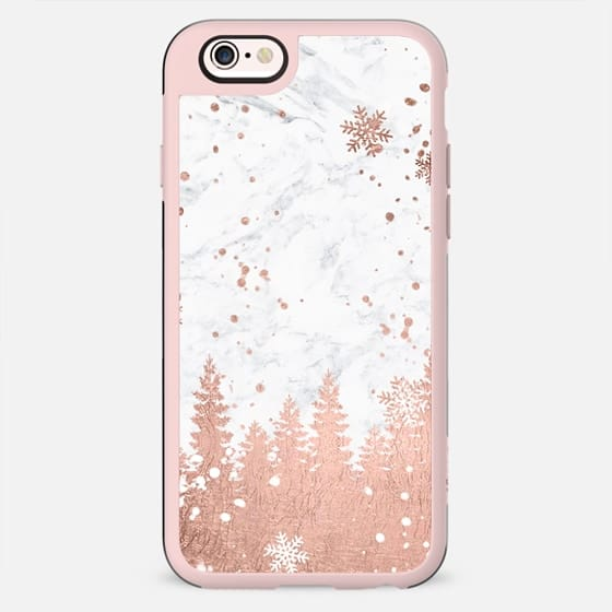 Modern rose gold foil christmas holiday winter snowlfake pine trees on white marble by Girly Trend - New Standard Case