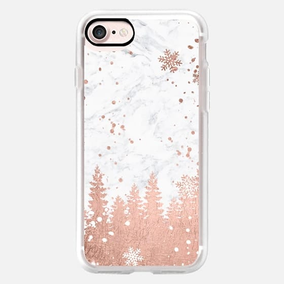 Modern rose gold foil christmas holiday winter snowlfake pine trees on white marble by Girly Trend -