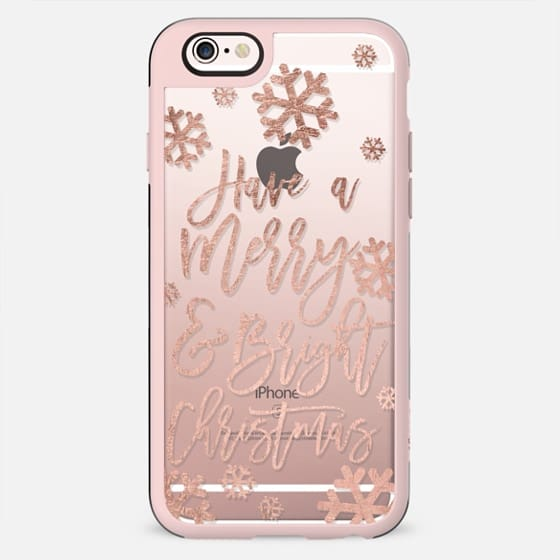 Holidays merry and bright christmas snowflakes rose gold typography by Girly Trend - New Standard Case