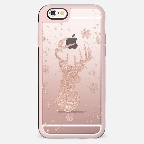 Modern rose gold glitter deer head christmas snowflakes pattern by Girly Trend - New Standard Case