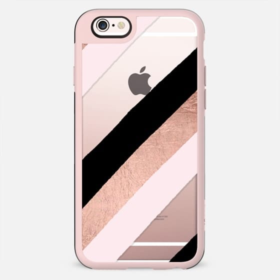 Modern black blush pink rose gold handdrawn stripes pattern by Girly Trend - New Standard Case