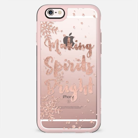 Modern Christmas making spirits bright typography holiday quote snowflake rose gold by Girly Trend - New Standard Case