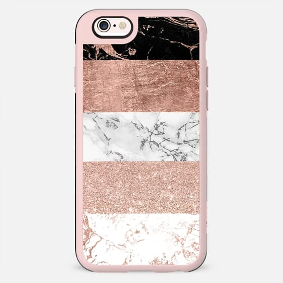 Modern color block chic handdrawn stripes black white marble rose gold foil glitter by Girly Trend - New Standard Case