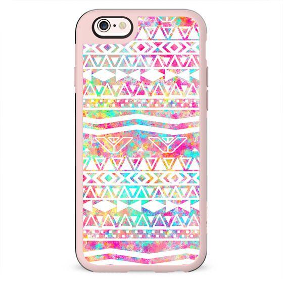 White Tribal Abstract Aztec Neon Rainbow Splatters