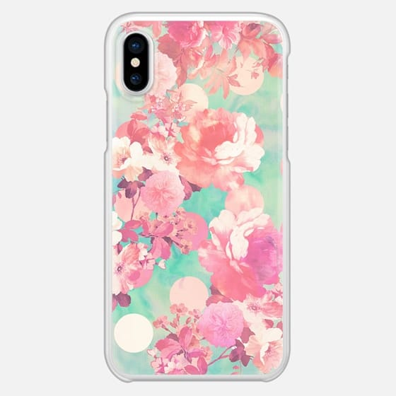 Romantic Pink Retro Floral Pattern Teal Polka Dots - Snap Case