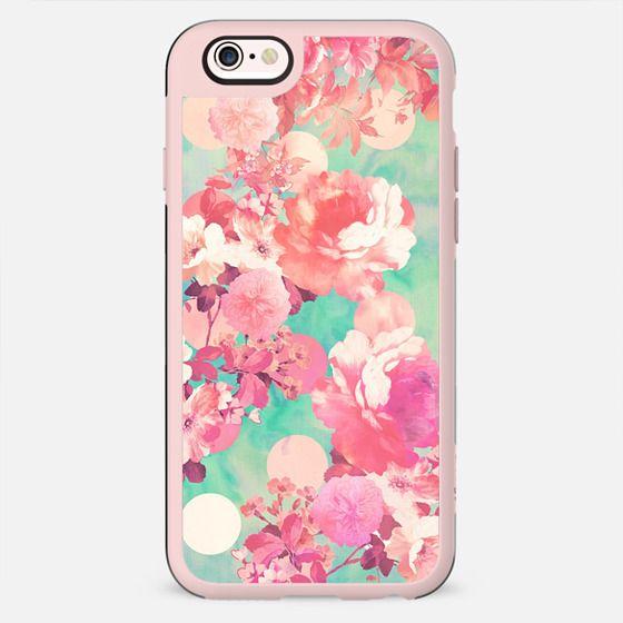 Romantic Pink Retro Floral Pattern Teal Polka Dots -