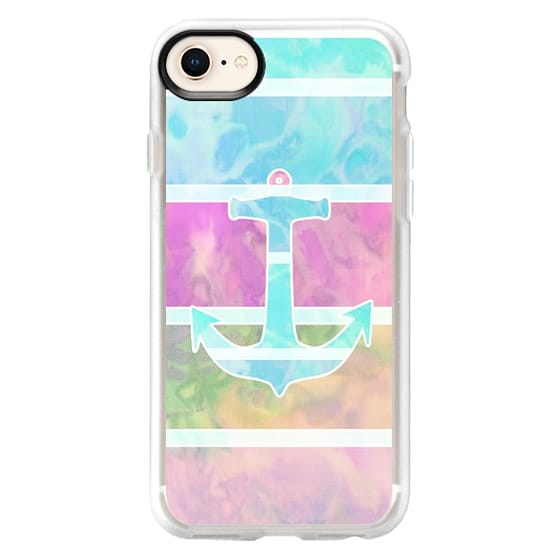 iPhone 8 Cases - Watercolor Teal Nautical Anchor Pastel Stripes