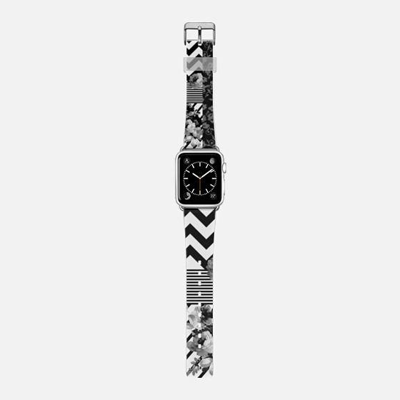 Black white floraal stripes chevron pattern watch - Saffiano Leather Watch Band