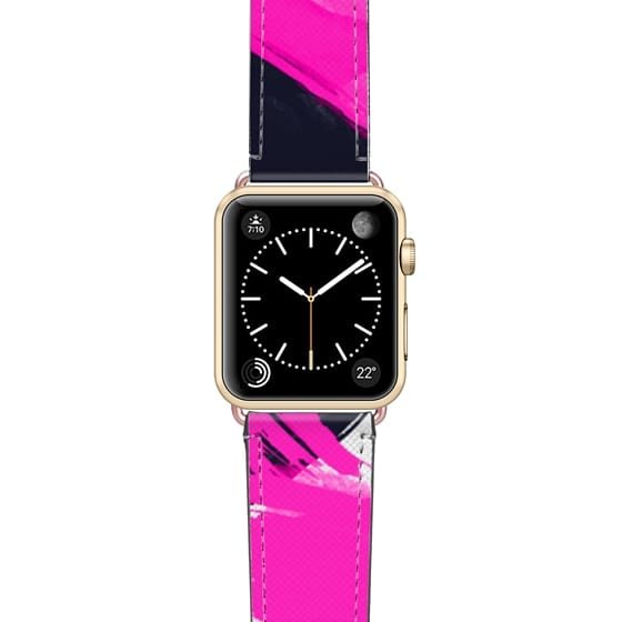 Apple Watch 38mm Bands - Neon pink black abstract brush strokes paint transparent