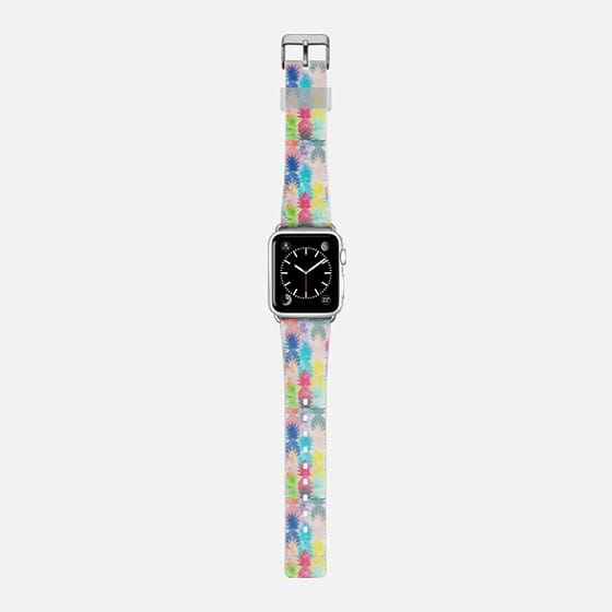 Modern bright watercolor pineapples pattern transparent apple watch - Saffiano Leather Watch Band