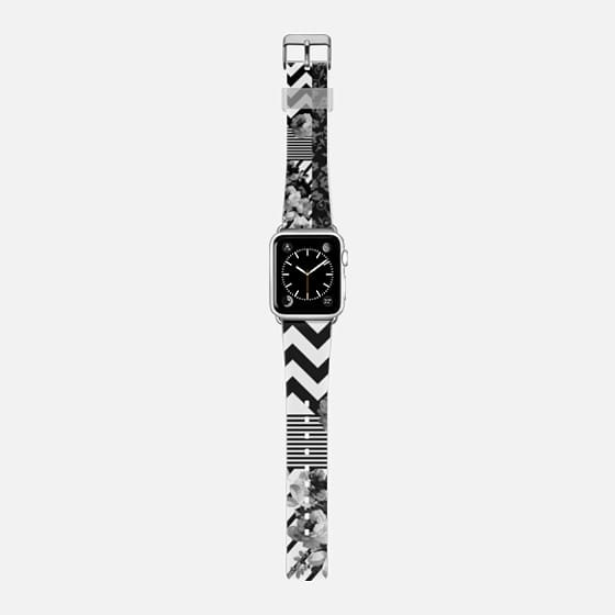 Black white floraal stripes chevron pattern watch - Saffiano Leather Watch Band
