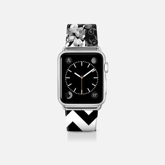 Black white floraal stripes chevron pattern watch