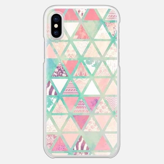 Pink Turquoise Abstract Floral Triangles Patchwork - Snap Case