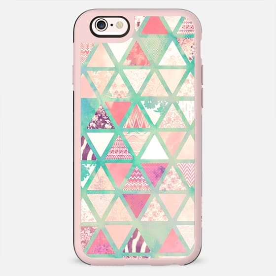 Pink Turquoise Abstract Floral Triangles Patchwork -