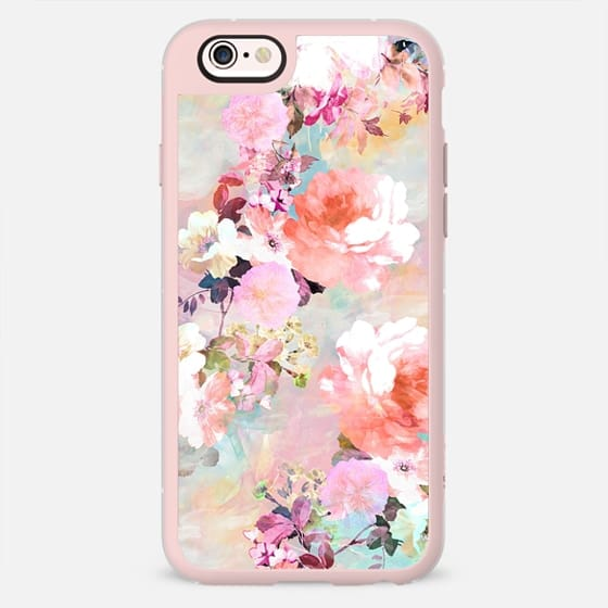 Stylish Romantic Pink Teal Pastel Chic Floral Pattern by Girly Trend