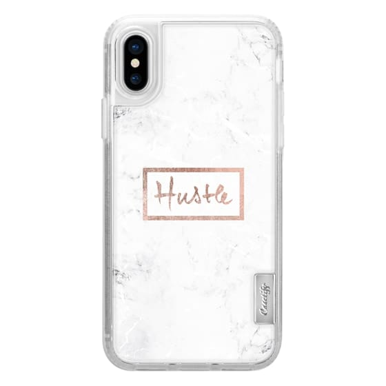 Modern rose gold Hustle typography white marble