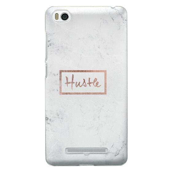 Modern rose gold Hustle typography white marble