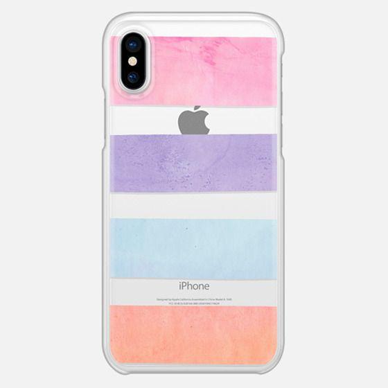 Pastel Watercolor Stripes Summer Pink Orange Teal 2 - Snap Case