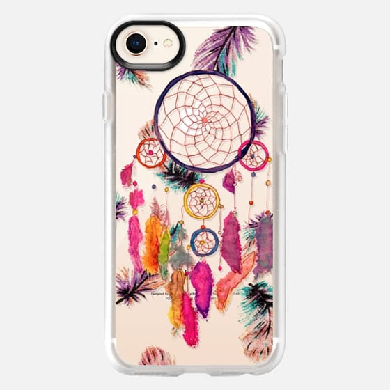 Modern boho watercolor pink yellow dreamcatcher and feathers pattern hand paint transparent by Girly Trend