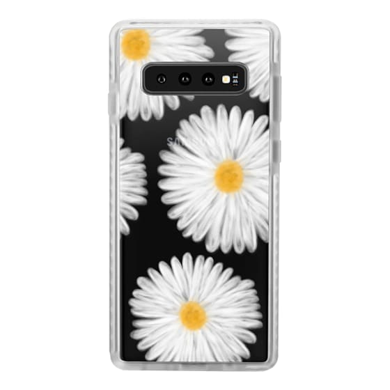 Samsung Galaxy S10 Cases - Modern summer daisy flowers hand painted watercolor by Girly Trend