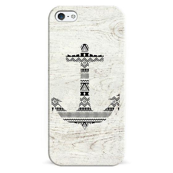 iPhone 6s Cases - Aztec Nautical Anchor Black White Vintage Wood