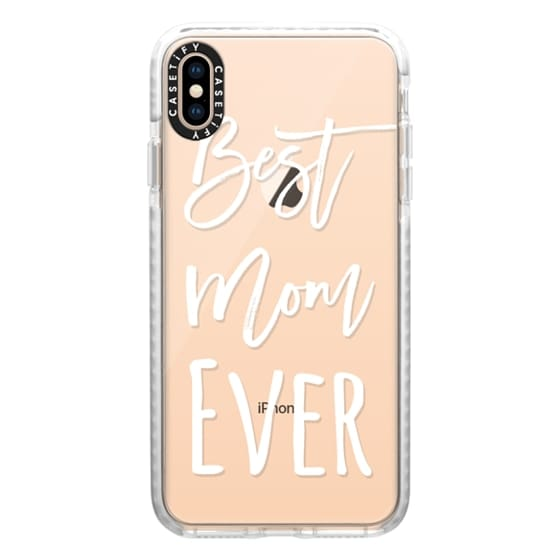 iPhone XS Max Cases - Modern best mom ever typography white by Girly Trend