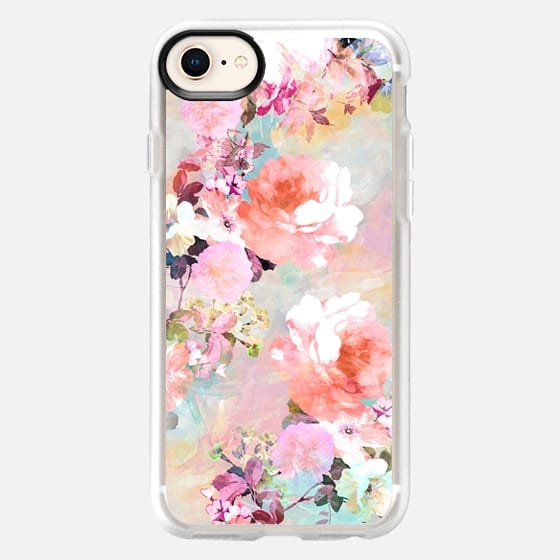 Romantic Pink Teal Pastel Chic Floral Pattern by Girly Trend - Classic Grip Case