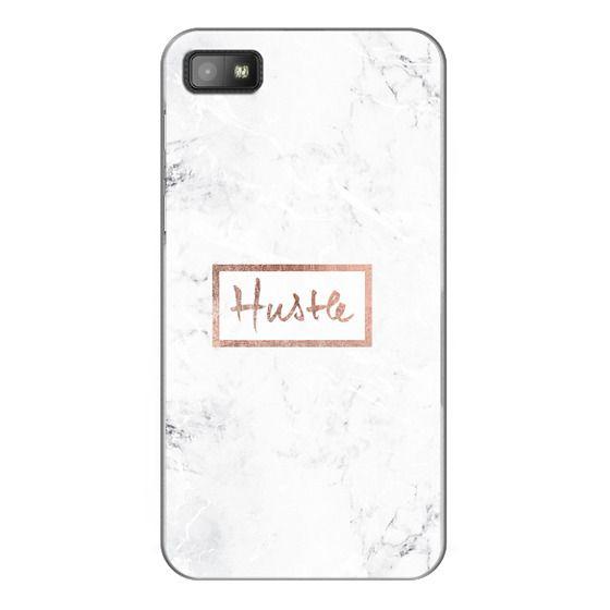 Blackberry Z10 Cases - Modern rose gold Hustle typography white marble