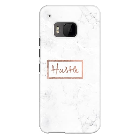 Htc One M9 Cases - Modern rose gold Hustle typography white marble