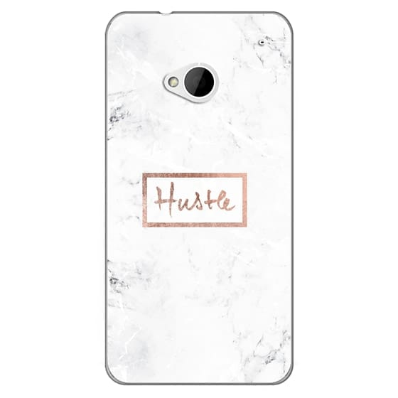 Htc One Cases - Modern rose gold Hustle typography white marble