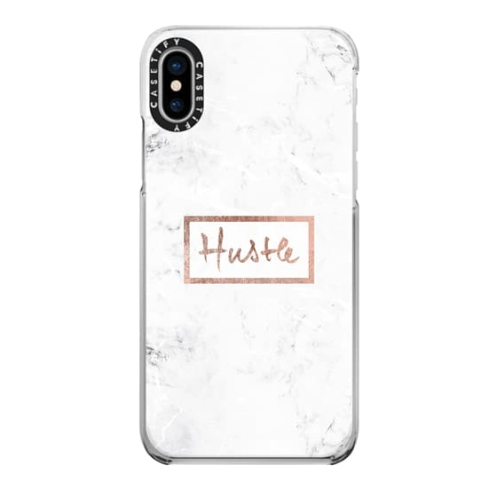 iPhone X Cases - Modern rose gold Hustle typography white marble
