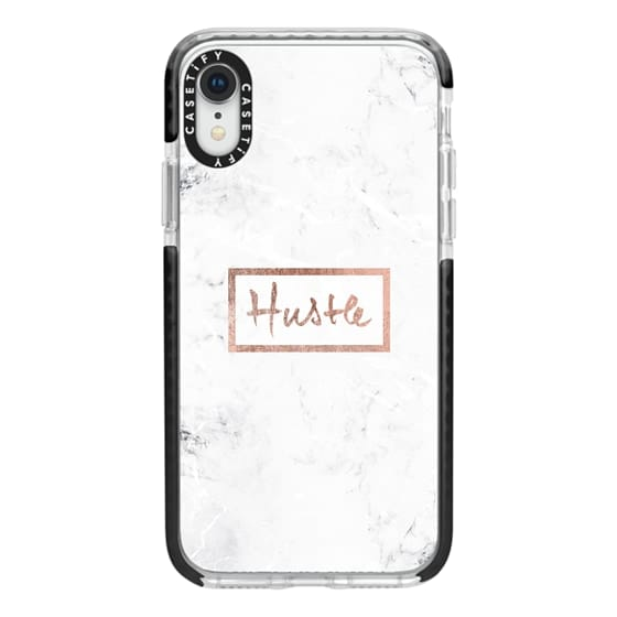 iPhone XR Cases - Modern rose gold Hustle typography white marble