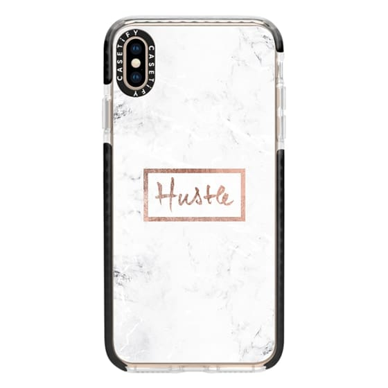 iPhone XS Max Cases - Modern rose gold Hustle typography white marble
