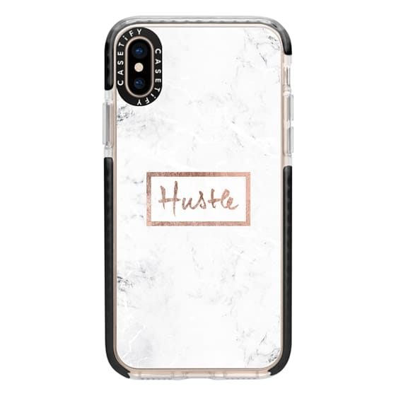 iPhone XS Cases - Modern rose gold Hustle typography white marble