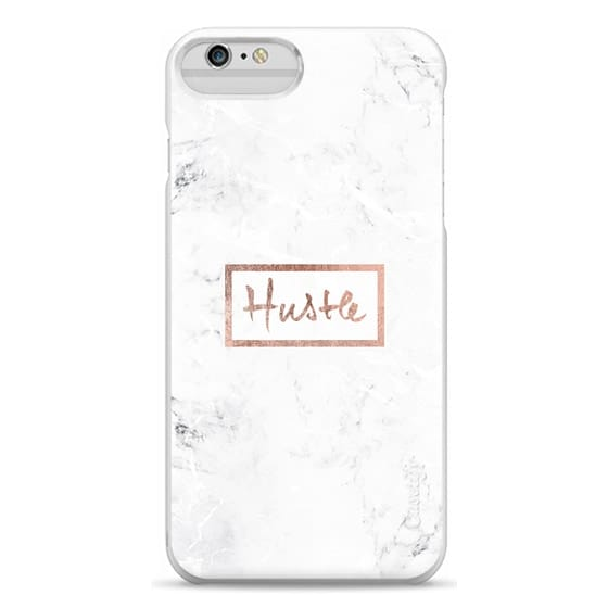 iPhone 6 Plus Cases - Modern rose gold Hustle typography white marble