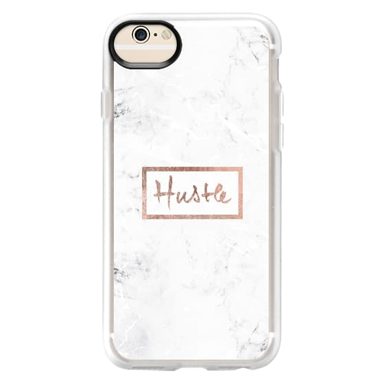 iPhone 6 Cases - Modern rose gold Hustle typography white marble
