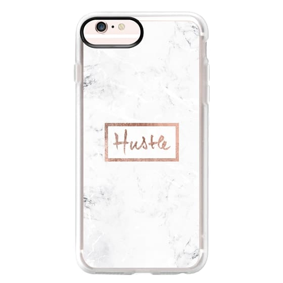 iPhone 6s Plus Cases - Modern rose gold Hustle typography white marble
