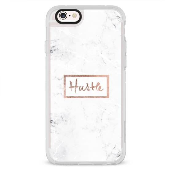 iPhone 4 Cases - Modern rose gold Hustle typography white marble