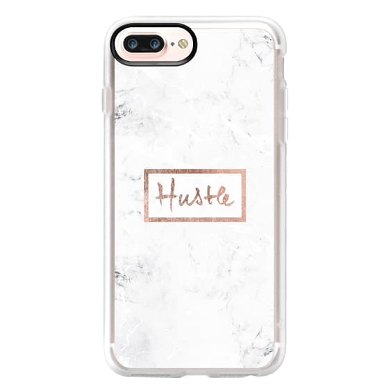 iPhone 7 Plus Cases - Modern rose gold Hustle typography white marble