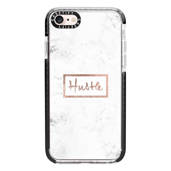 iPhone 7 Cases - Modern rose gold Hustle typography white marble