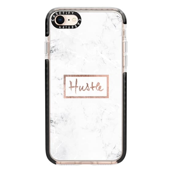 iPhone 8 Cases - Modern rose gold Hustle typography white marble