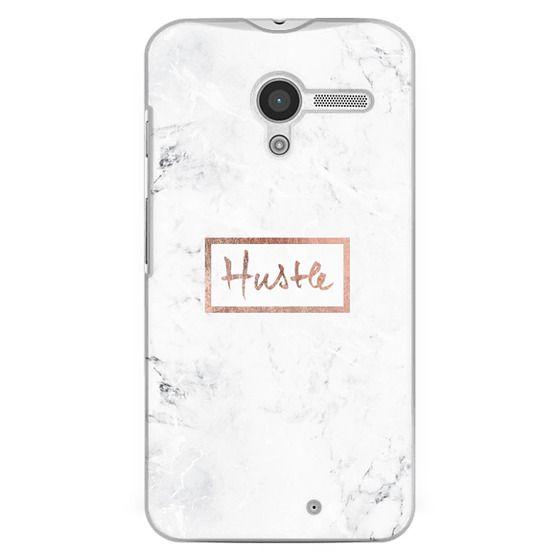 Moto X Cases - Modern rose gold Hustle typography white marble