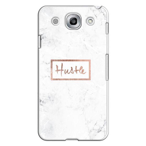 Optimus G Pro Cases - Modern rose gold Hustle typography white marble
