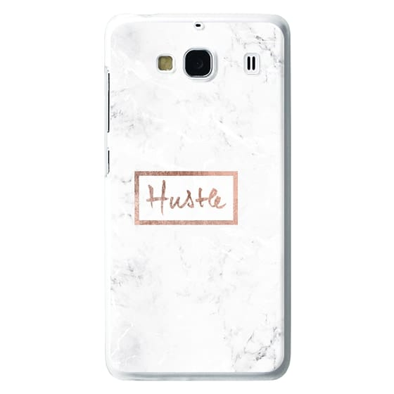 Redmi 2 Cases - Modern rose gold Hustle typography white marble