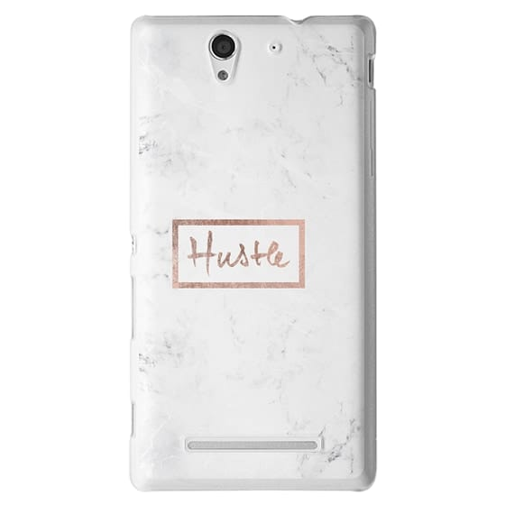 Sony C3 Cases - Modern rose gold Hustle typography white marble