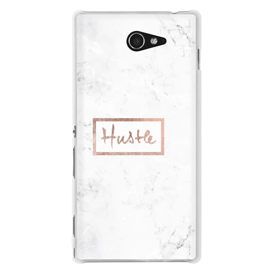 Sony M2 Cases - Modern rose gold Hustle typography white marble