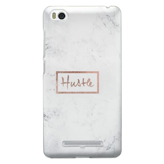 Xiaomi 4i Cases - Modern rose gold Hustle typography white marble