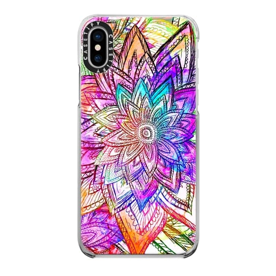 iPhone X Cases - Colorful Vintage Floral Pattern Drawing Watercolor